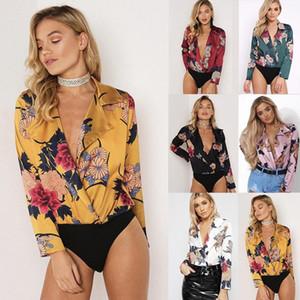 Женщины Глубокий V-Образным Вырезом Весна Печатных Цветочные Блузки Новая Осенняя Мода Роскошные Дизайнерские Рубашки Топы С Длинными Рукавами