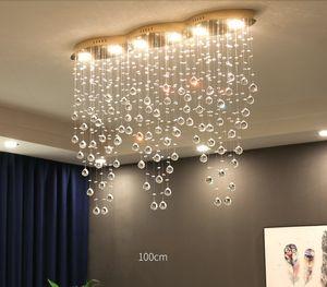 Illuminazione moderna Grande rettangolare Curtain Saluto lampadario di cristallo per la struttura Hotel sala da pranzo in camera Foyer Led Lampada da soffitto LLFA