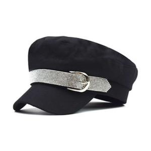 2020 modelos de explosión sombrero de copa de algodón azul marino hilo de oro bordado hombres y mujeres espectáculo de danza marinero estrella de cinco puntas sombrero de copa plana