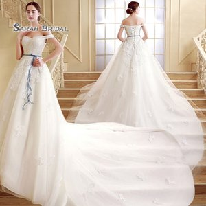 Gorgeous A-line Sleeveless Off Shoulder Lace Up Appliques Sash Chapel Train Sleevless 2019 Tulle Wedding Bridal Gowns SQS03