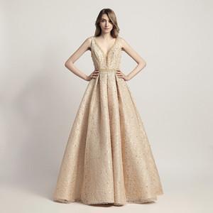 Aline Prom Robes Col V Dos Nu Avec Perles Dos Nu Et Paillettes Robes De Soirée Sexy Arabe Formelle Party Wear LX442