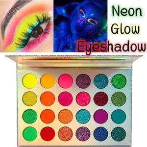 24 цвета Aurora Glow Luminous Eyeshadow Palette Neon Glow Stage Clubbing тени для век палитра УФ свечение в темноте Флуоресцентный принимает ваш логотип