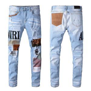 Les nouveaux hommes Distressed Ripped Biker Jeans Slim Fit Motard Denim pour les hommes Fashion Designer Hip Hop Jeans Hommes