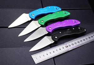 """Delica 4 Flat Ground 2-7 / 8"""" VG10 Satin Plain Blade, Черный синий зеленый фиолетовый FRN ручки - C11FPBK"""