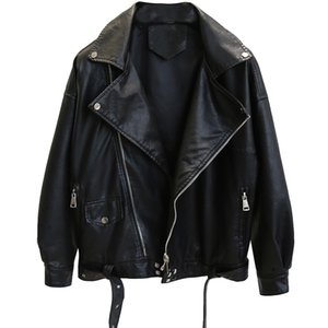 2020 New Women Autumn Zipper Soft Leather Jackets Female Black Loose Lady PU Leather Jackets Fashion Short Faux Coat