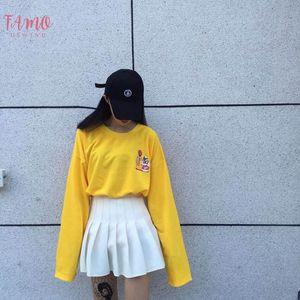 2019 Spring Newest Fanny Girls T Shirts Harajuku T Shirt Women Long Sleeve Cartoon Print Yellow Tops