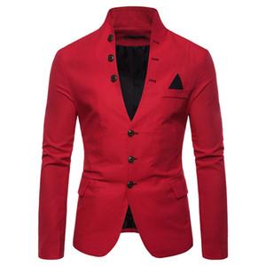 Les hommes amincissent la mode de veste de costume ajustement hommes conviennent blazer occasionnels ont veste hommes solides homme costume de fête col blazer d91004
