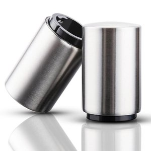 Bouteille automatique bière ouvre avec Cap en acier inoxydable magnétique Cap Catcher Push Down Pop Top Bottle Cap Collector cadeau LX1609