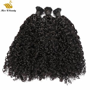 Natural Black Color I tip Hair Extensions Curly Wave Human Hair Pre-bonded Afro Curly Remy Hair 100strands per Bundle