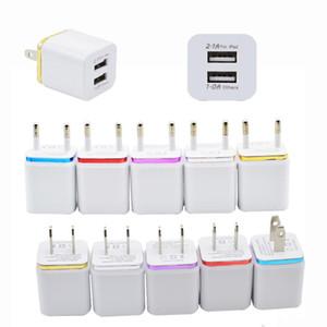 Dual-USB-Wand-Lade Ladegeräte 2-Anschlüsse Metall-Ladegerät Stecker 2.1A + 1A Netzteil-Stecker für iPhone iPad Samsung Android SmartPhone