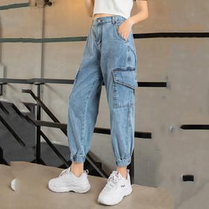Herbst Jeans Cargo Pants Frauen Denim Jogger Elastische Taille Stretch Hosen Frauen Casual Vintage Wash Loose Fit Ripped Pants SH190816