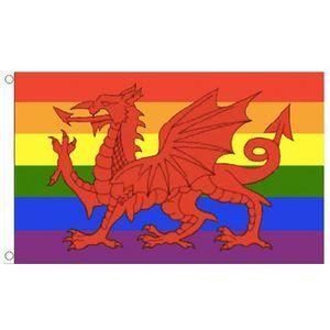 Радуга Уэльс флаг Уэльский Красный Дракон гей-прайд флаг пользовательские флаги 100D 100% полиэстер открытый крытый использование, для фестиваля висит реклама