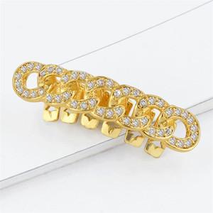 Mode Kettenzähne Grill-Gold überzogene Zahn Grillz Glänzend Zahnspange Hip Hops Zirkon Intarsien Kette Heißer Verkauf 15ja O1