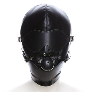 Black Erotic Latex Catsuit Máscara Accesorios de disfraz de PU Lace Up SM Ball Cosplay Máscara de cabeza Fetish Sexy Party PU Headgear con boca Gag