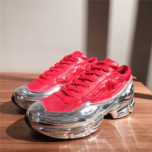 Mens Sneaekers Raf Simons Maxi-Sneaker, Silber Flüssigkeit Design sneaker dip Effekt Sohle Sport Trainer Multicolor mit dem Kasten