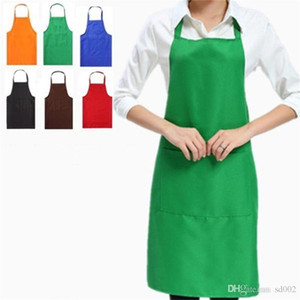 Solid Color Apron For Kitchen Clean Accessory Household Adult Cooking Baking Aprons DIY Printing Practical Tools Polyester Fiber 4 5jf C RZ