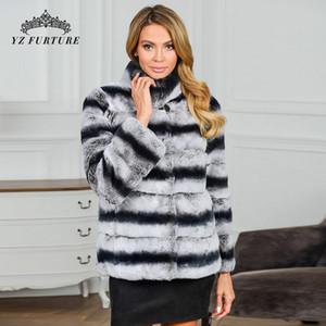 Court-Rex-chinchilla Fourrure-manteau col montant chinchilla fourrure Veste en fourrure Rex chinchilla Top Coat Pardessus Plus Size Blazer