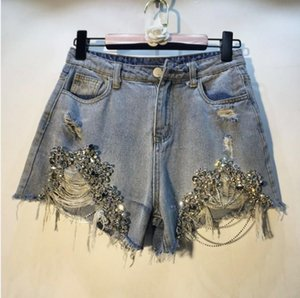 European Holes Hot Pants 2019 Spring Summer Woman's New Heavy Beads with Drilled Chains Jeans Shorts Lady Denim Shorts