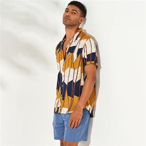 Mens rayas irregulares de impresión camisas Sommer diseñador estilo de la playa de la solapa de cuello camisa ocasional Los hombres de moda, ropa suelta más