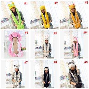 Uzun Eşarp Eldivenleri Earmuff'lar sıcak kulakta ile Karikatür şapka eşarp peluş hayvan Eşarplar Şapka Kadınlar Kostüm sevimli şapkalar 1 LJJA3528-6 içinde 3 takkelerden