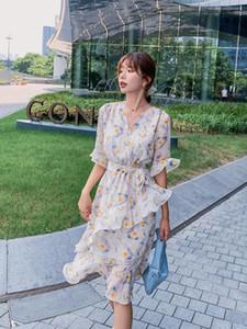 여성 미디 베이지 색 - 흰색 쉬폰 꽃 드레스 여름 활주로 한국어 빈티지 파티 드레스 주름 우아한 보헤미안 비치 휴가 드레스