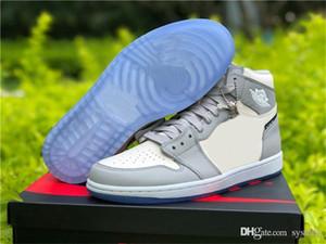 2020 حجية 1 أدنى أعلى OG كرة السلة أحذية رجالية الذئب الرمادي الشراع فوتون الغبار الأبيض 1S المحدودة احذية انن الرياضة مع صندوق أصلي
