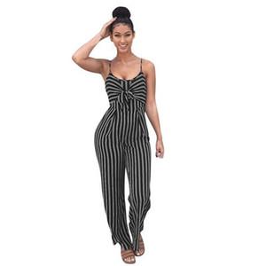 Womens Striped Sleeveless Jumpsuits 2019 Nuovo arrivo Fashion Designer Donna Full Length Pagliaccetti Estate Casual Womens Tops Tute