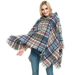 술 복고풍 옷 여성 망토 풀오버 모자 격자 숄 새로운 패턴 겨울 유지 따뜻한 패션 26jh UU