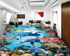 3D Wallpaper PVC pavimento Bella Underwater World Dolphin Sharks HD Digital Printing umidità sfondi 3D Piano