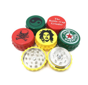 Bottle Cap Metal Grinder diameter 45mm*24mm multiple style handle 2 layers Herb Grinders with display box for smoking pipe Tools