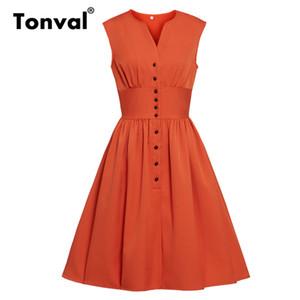 Tonval Pas Turuncu Tek Göğüslü Yüksek Bel Pileli Elbise Kadın Yaz Gömlek Tarzı V Boyun Rahat Katı Vintage Elbiseler