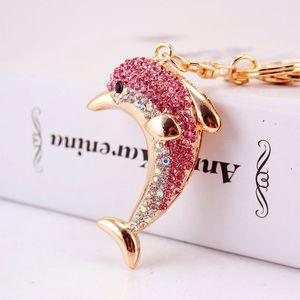 Creative strass mignon Dolphin voiture Keychain Porte-clés en métal pour Décoration Sacs Lady Trousseau Dolphin