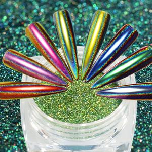 12 ألوان الليزر الحرباء الطاووس بريق مسحوق المجسم مرآة الغبار الصباغ مسحوق كروم التألق uv gel ورنيش