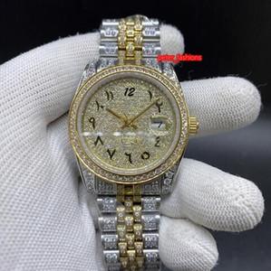 Orologi meccanico automatico superiore diamante dei migliori uomini di modo di vendita Orologi Bi-Gold Diamond in acciaio inox orologi