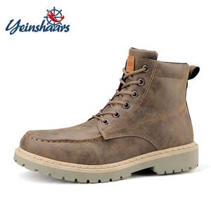 YEINSHAARS Hombres de la vendimia Botas con cordones de cuero de invierno Martin Botas Hombres Impermeable Trabajo Herramientas Tobillo de seguridad Zapatos casuales