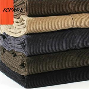 ICPANS Pantalones de pana para hombres Rectos y gruesos cálidos Otoño Invierno Hombres Pantalones Pantalones de cintura alta para hombre más el tamaño 40 42 44 46