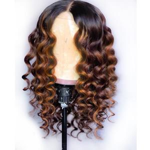 전체 레이스 인간의 머리 가발 선염 두 톤 1B 30 느슨한 물결 모양의 브라질 처녀 머리 150 밀도 자연 헤어 라인 글루리스 표백 매듭