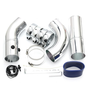 Freeshipping Tubo di aspirazione aria universale da 3 pollici / Kit tubo di aspirazione in lega di alluminio Turbo Direct Sistema di iniezione aria fredda