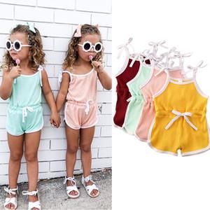 Sweet girls cotton suspender jumpsuits fashion summer new children stripe shorts romper baby kids clothing A2992