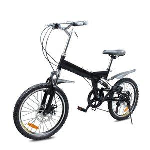 Dağ Bisiklet 20 İnç Yüksek Karbonlu Çelik Çerçeve Katlanır Bisiklet / İkili Katlama Pedal Değişken Hız Bisiklet