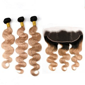 Body Wave # 1B / 27 Light Brown Ombre Indian Virgin Human Human 3Bundles with Frontal Honey Blonde Ombre 13x4 Lace Frontal cierre con tejidos