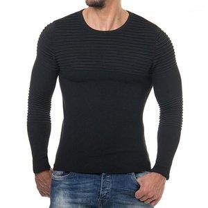 Erkek Kazak Kış Sonbahar dibe Katı Moda dökümlü Kırmızı Siyah Tişörtü AB Boyutu