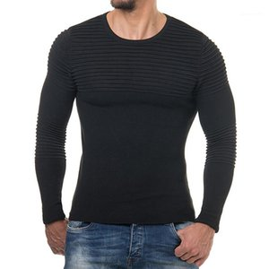 Tamanho Mens Camisolas Outono-Inverno Bottoming Sólidos Moda drapeado Red Preto Sweatshirts UE