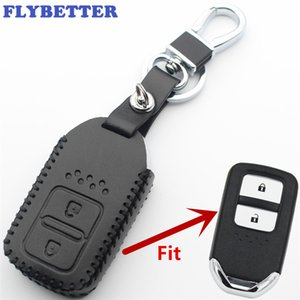 FLYBETTER Genuine Leather 2 Button Keyless Entry Smart Key Case Cover Per Honda Accord / CRV / Fit / Jazz / Civic Car Styling L400