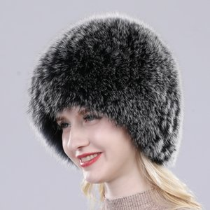 2019 Brand Women Natural Real Fox Fur Hat Winter Real Fox Fur Beanies Caps 수제 Warm Soft 니트 Real Fox Fur Skullies 캡