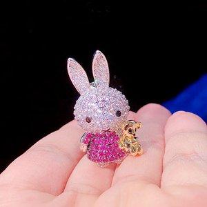 Новые красивые золотые ювелирные изделия аксессуары полный цвет кубический цирконий кролик брошь pin элегантный ol шарф пряжка