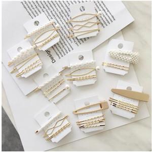 Vier Sätze von Pearl Haarnadeln BLUME mit Haarspangen für Mädchen Kinder Boutique Schichten Bling Strass Center Bows Haarnadeln Haarschmuck