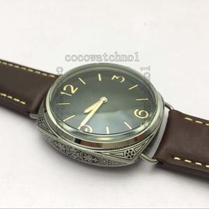 Top Carved Florence, edición limitada, reloj para hombre P3000 con cuerda manual, correa de cuero marrón. Reloj de acero inoxidable de 47 mm. Marca para hombre.