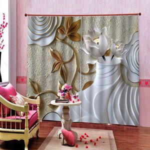 Modern Embossed lotus pattern 3D Window Curtains Photo Print For Living Room bedroom Blackout Drapes Sets (Left and Right Side)
