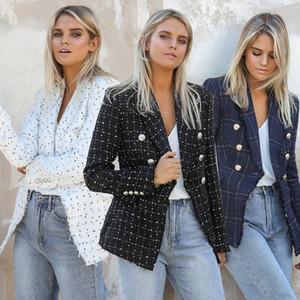 Bayan Tasarımcı Ekose Baskılı Blazer Lüks Womnens Yaka Boyun Ceket Kadın Ince Kruvaze ile Takım Elbise